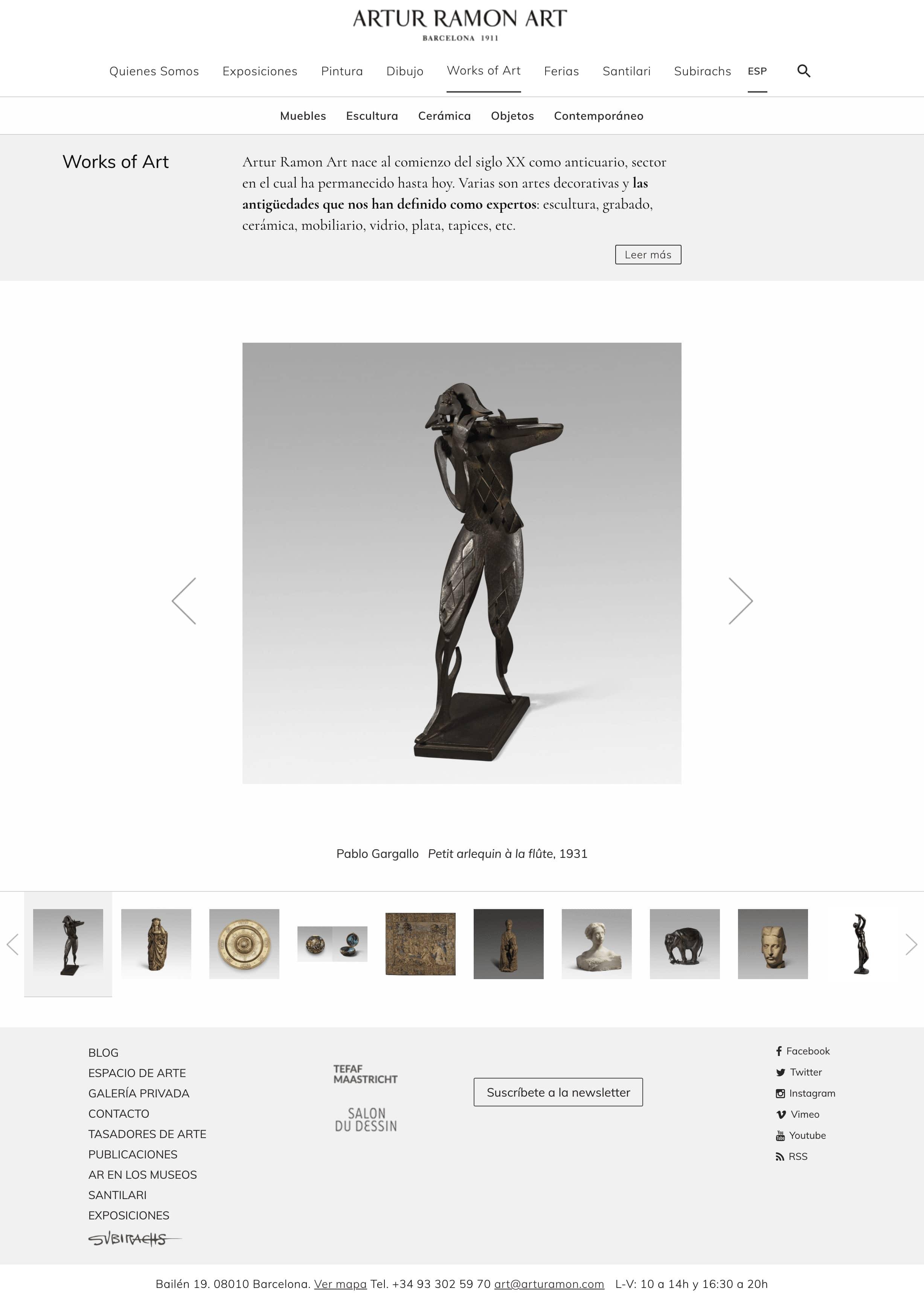 Captura  Diseñamos páginas web para galerías de arte